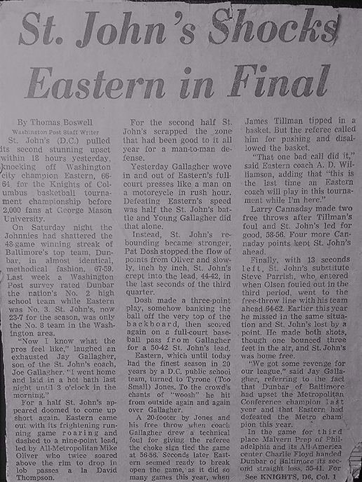 Black and white picture of a newspaper article for St. John's vs. Eastern in 1974